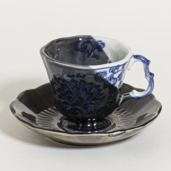 Redone koffie kop & schotel - Delft black and blue