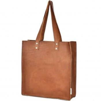 Cognac leder shopper