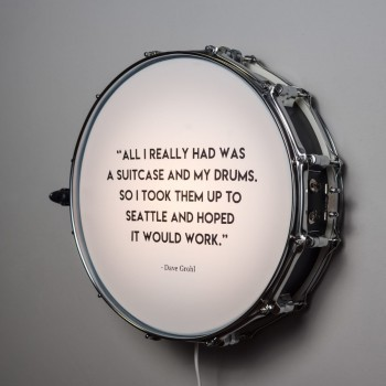 Snare Drum Wall Light Quote Black