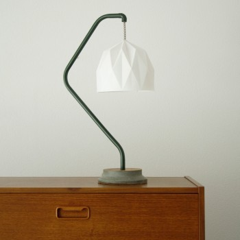 Origami Army Green Swan Lamp