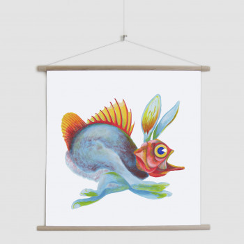Weird Creatures: Fishy Hare running canvas poster