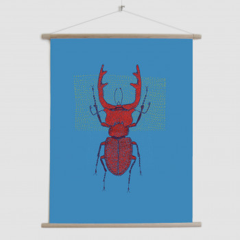 Stitches: Red Stag - canvas poster