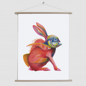 Weird Creatures: Fishy Hare sitting -canvas poster