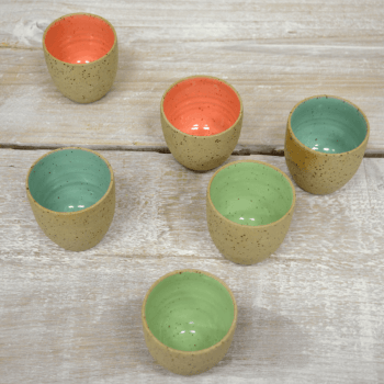 Ristretto cup set (yellow specks) - 6 cups.