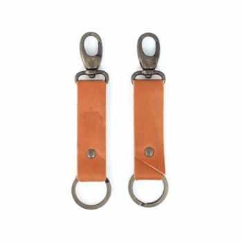 KIWI Leather Keychain - Cognac