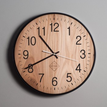 Solid Wood Clock - Oak/Black/Classic