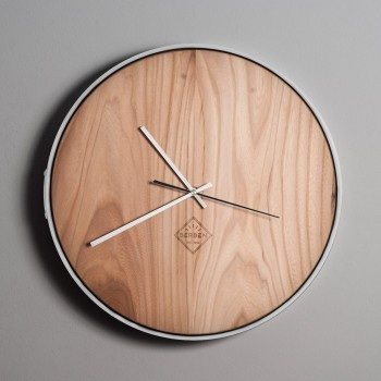 Solid Wood Clock Minimalstic - Elm/White