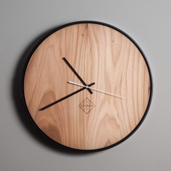 Solid Wood Clock Minimalstic - Elm/Black