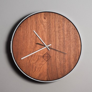 Solid Wood Clock Minimalstic - Jatoba/White