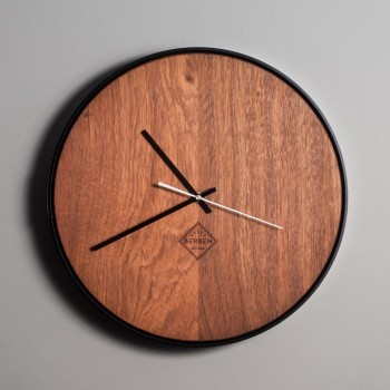 Solid Wood Clock Minimalstic - Jatoba/Black