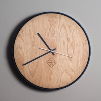 Solid Wood Clock Minimalstic - Oak/Blue