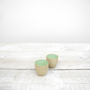 Ristretto cups in lime (yellow specks) - 2 cups.
