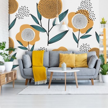 Daring Walls Behang Retro flowers - mustard