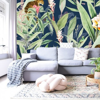 Daring Walls Behang Tropical Chic navy