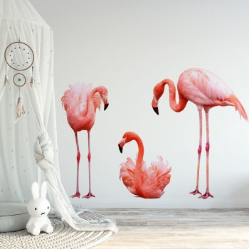Daring Walls Muursticker 3 flamingo's