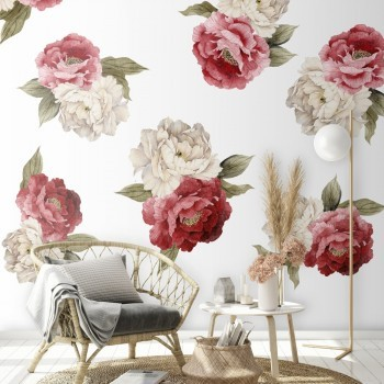 Daring Walls Muursticker Peonies red - white