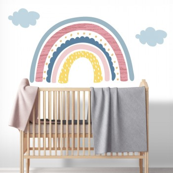 Daring Walls Muursticker Rainbow with clouds - pink