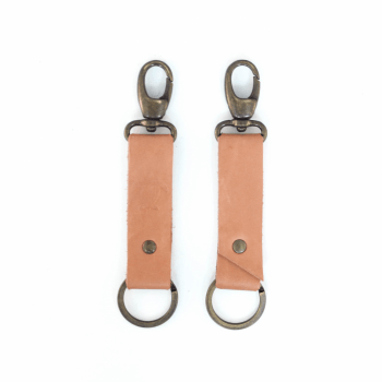 KIWI Leather Keychain - Salmon