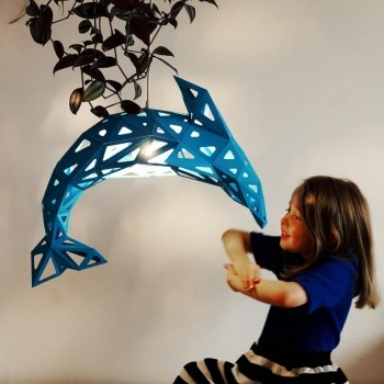 Dolphin Paper Lampshade Blue