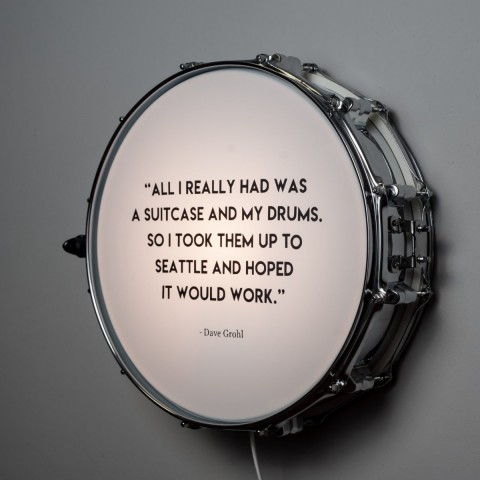 Snare Drum Wall Light Quote Chrome