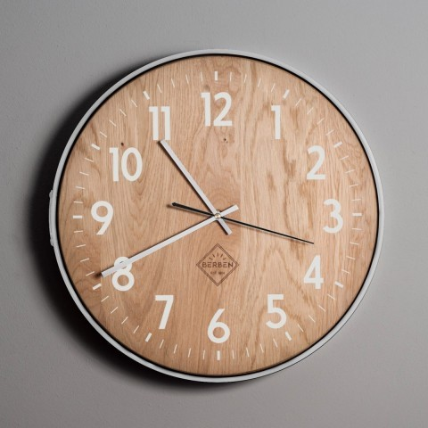 Solid Wood Clock - Oak/White/Deco