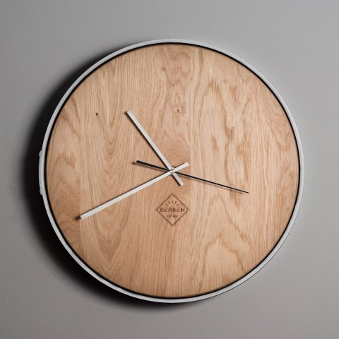 Solid Wood Clock Minimalstic - Oak/White