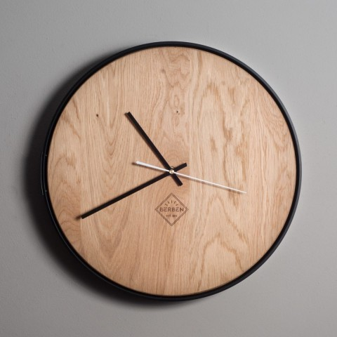 Solid Wood Clock Minimalstic - Oak/Black