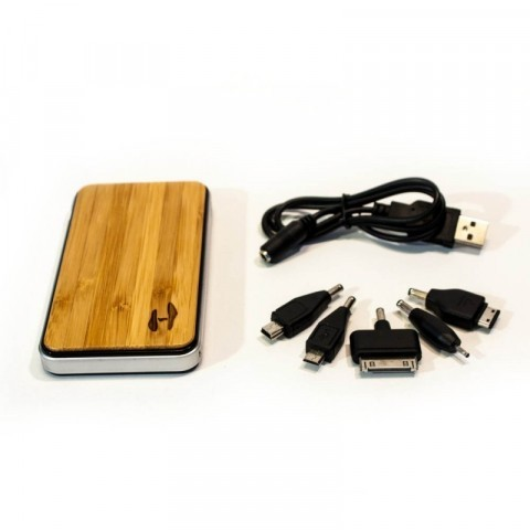 Wood design power bank 2700 met solar lader voor iPhone, iPad of Samsung